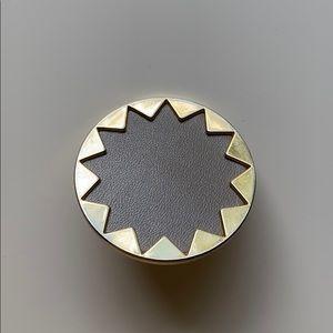 HOH Large Sunburst Ring Size 7 Khaki Leather Gold
